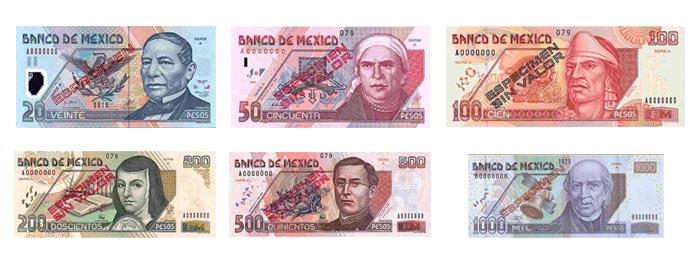Imágenes de los billetes del peso mexicano.