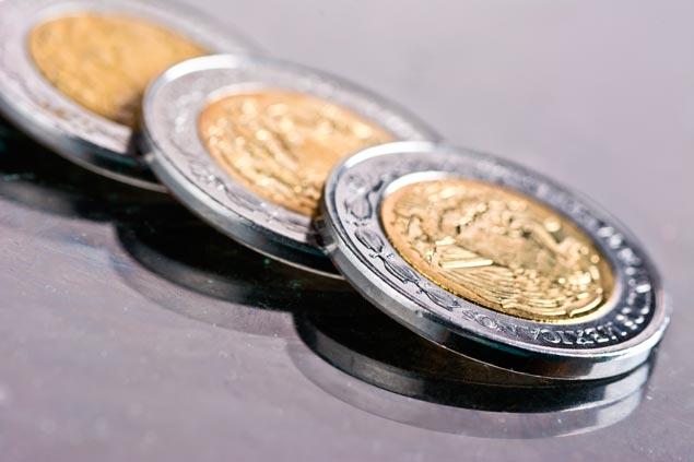 Imagen de las monedas del peso mexicano.